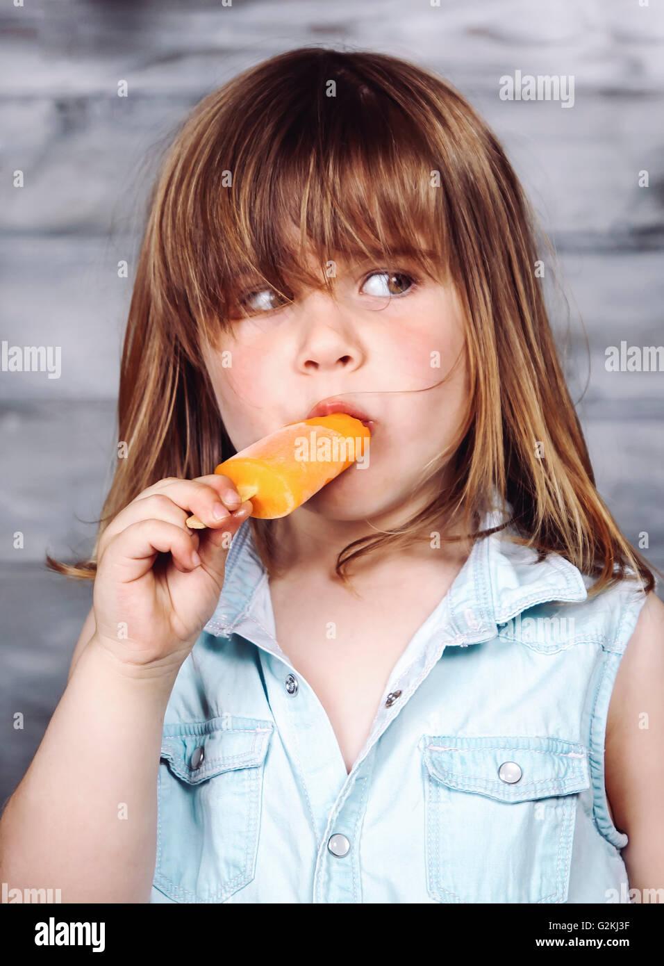 Delicious Ice Cream Cone Little Girl Stock Photo 145220722 ...