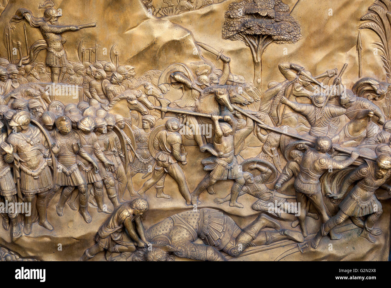 florence baptistery david and goliath bronze panel east doors