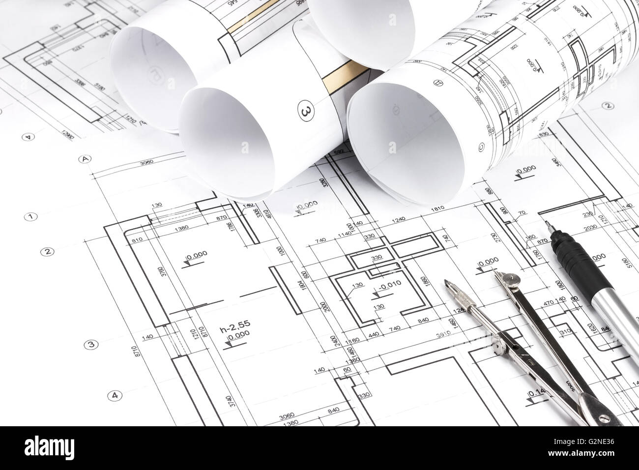Architectural Drawing Background architectural background with rolls of technical drawings and work