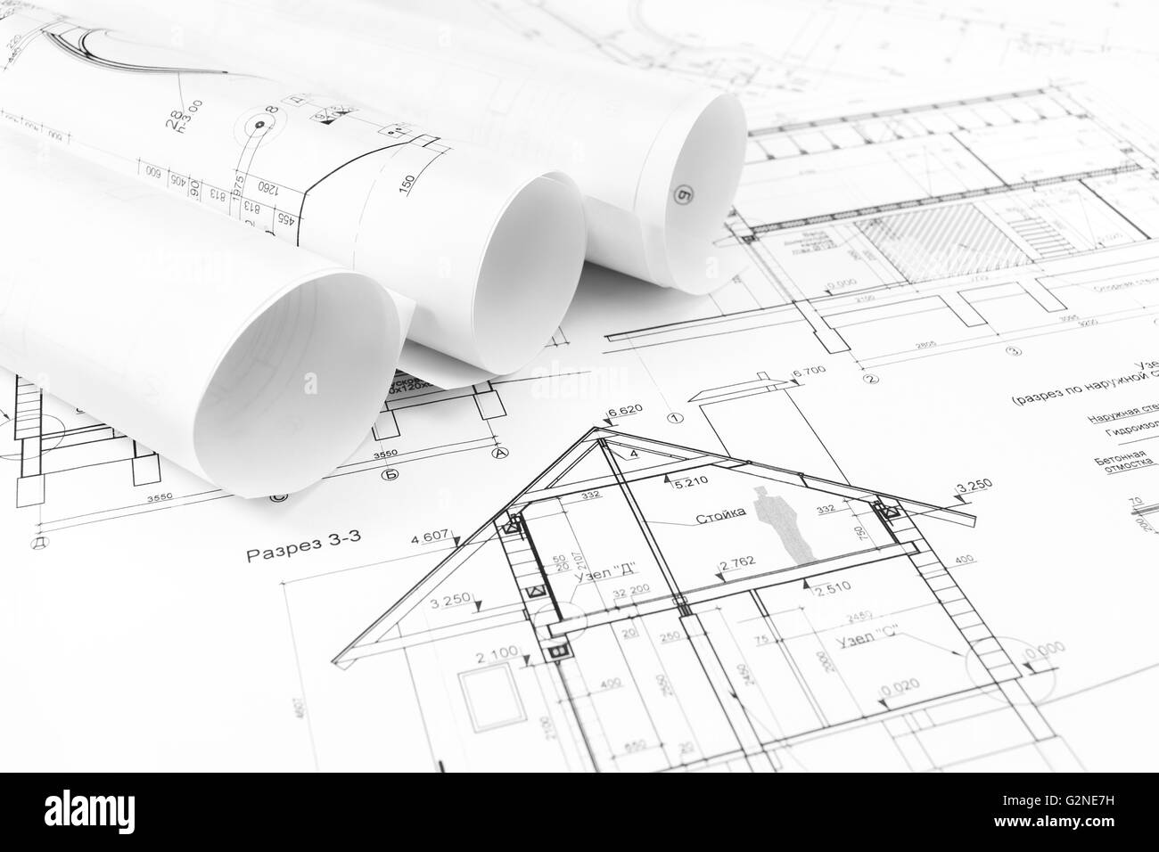 Rolls of architectural house plans and engineering blueprints