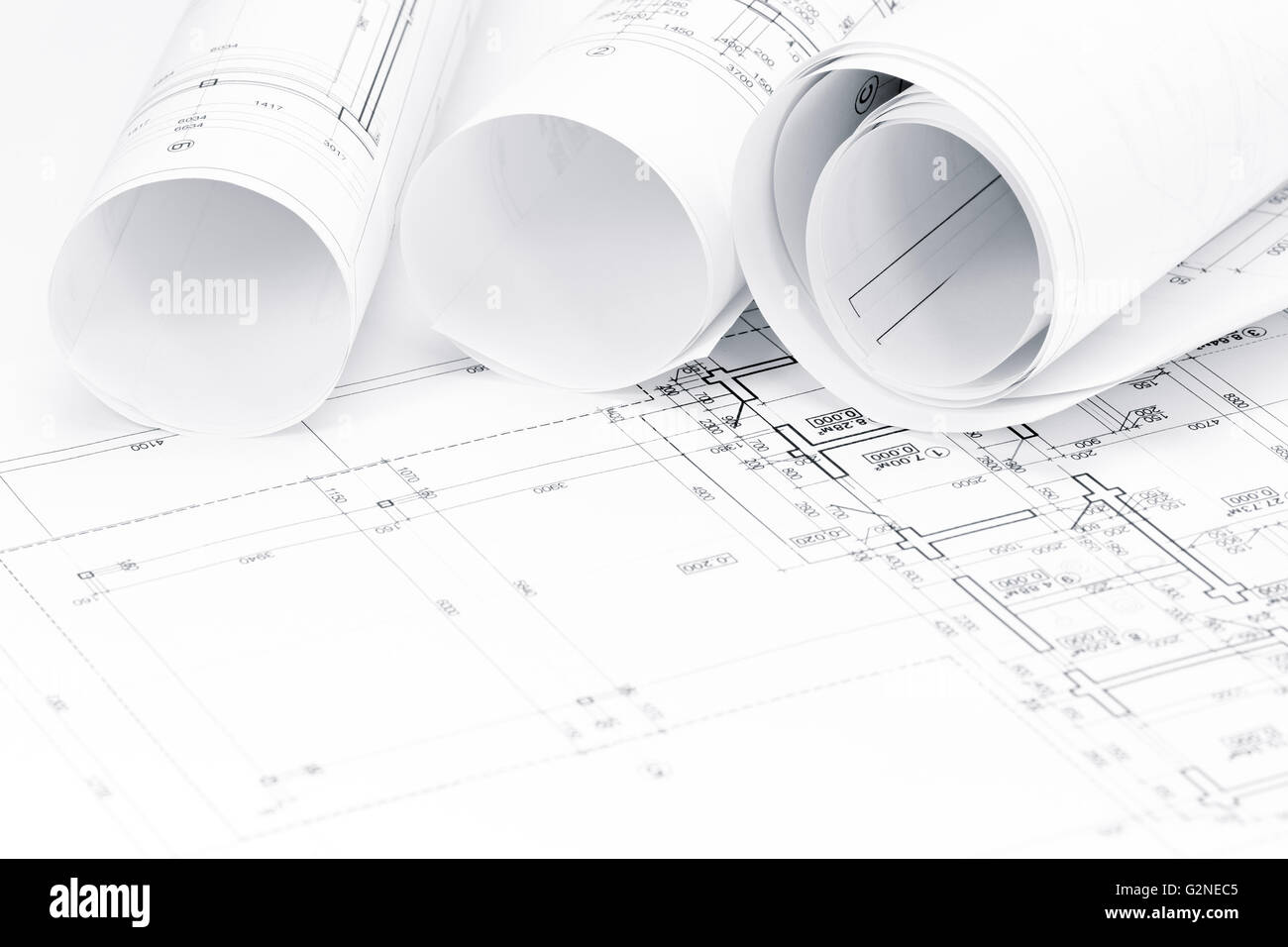 Architectural Drawing Background architectural background with floor plans and rolls of technical