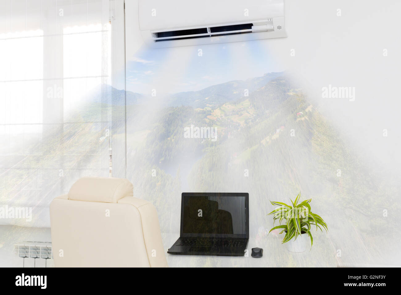 Air conditioner blowing cold air Home interior concepts Stock