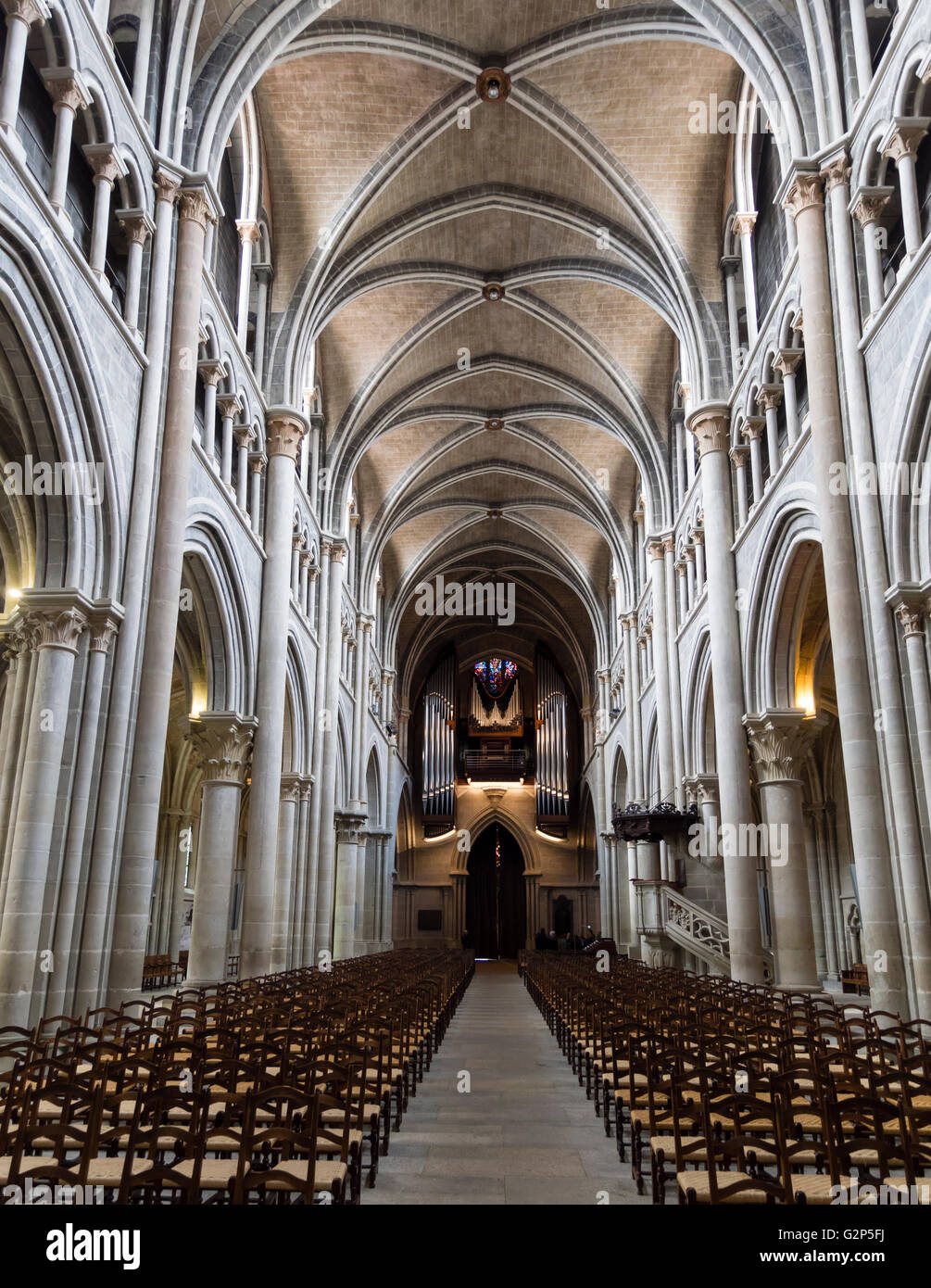 Gothic Style Interior interior view of the 12th century gothic style cathedral of notre