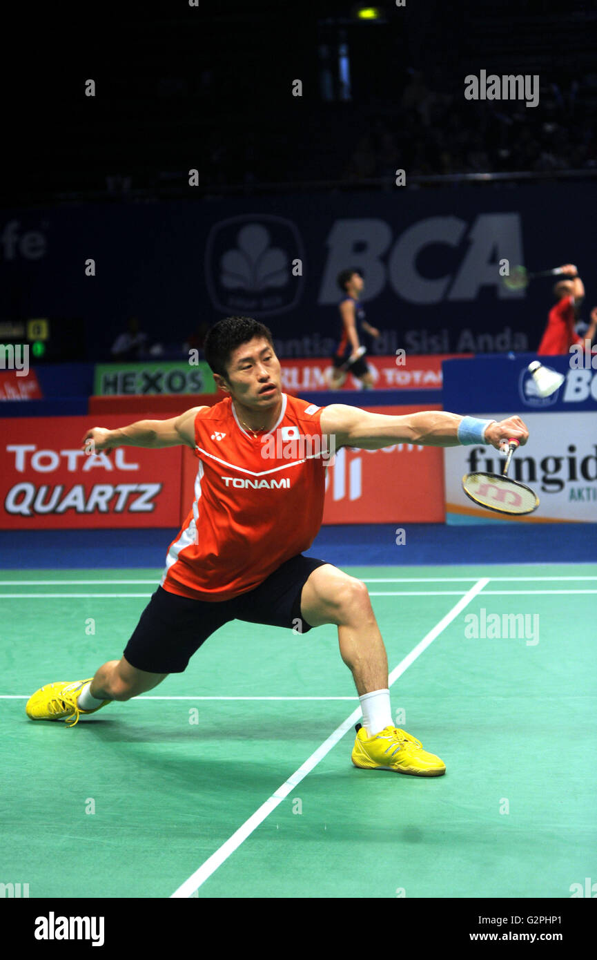 JAKARTA INDONESIA JUNE 01 Sho Sasaki of Japan hits a return