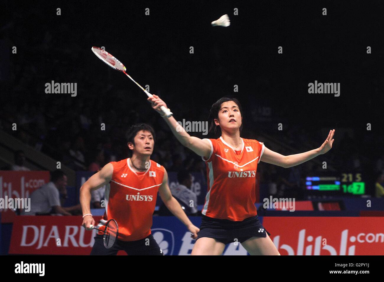 Jakarta Indonesia on June 02 2016 Ko Su Hyun Kim Ha Na of Korea