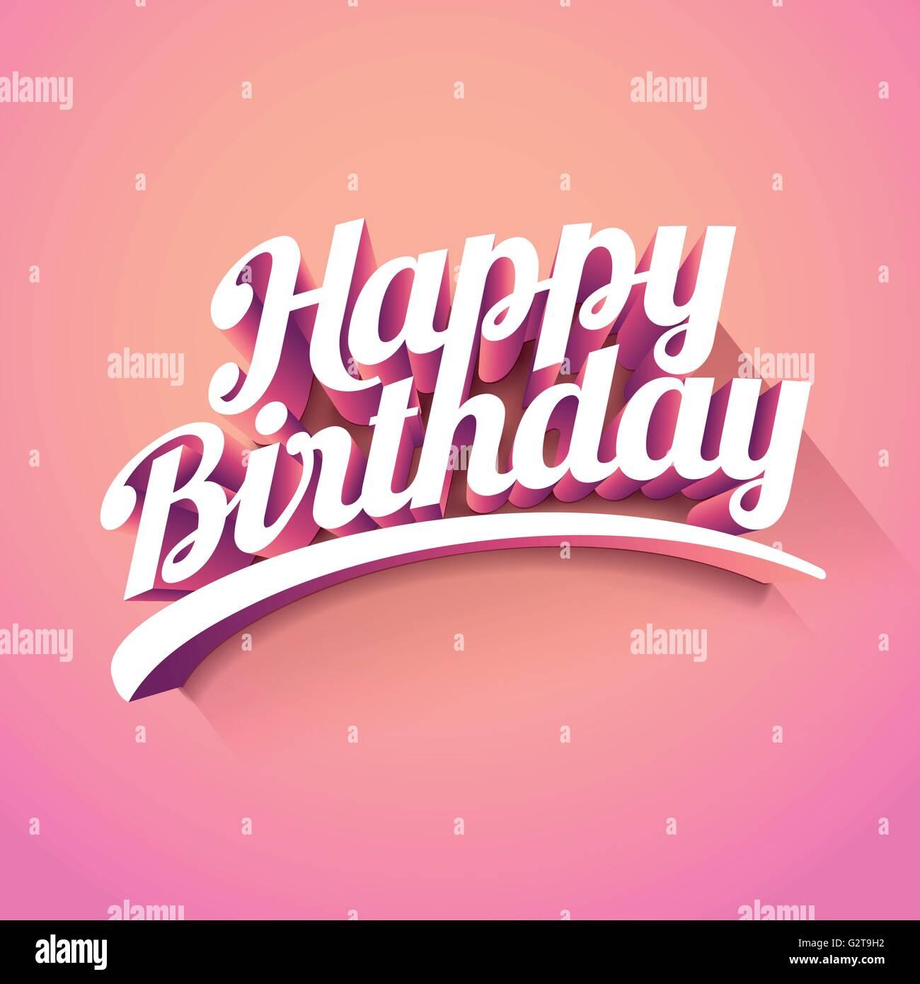 "Vector 3d ""Happy Birthday"". Retro Birthday card design Stock ..."