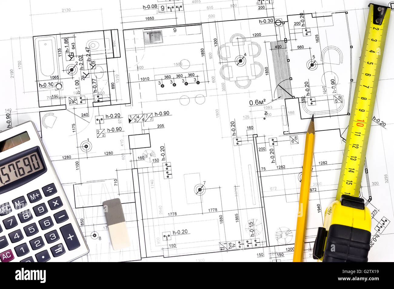 House building construction plans with measuring tape for Build my home calculator