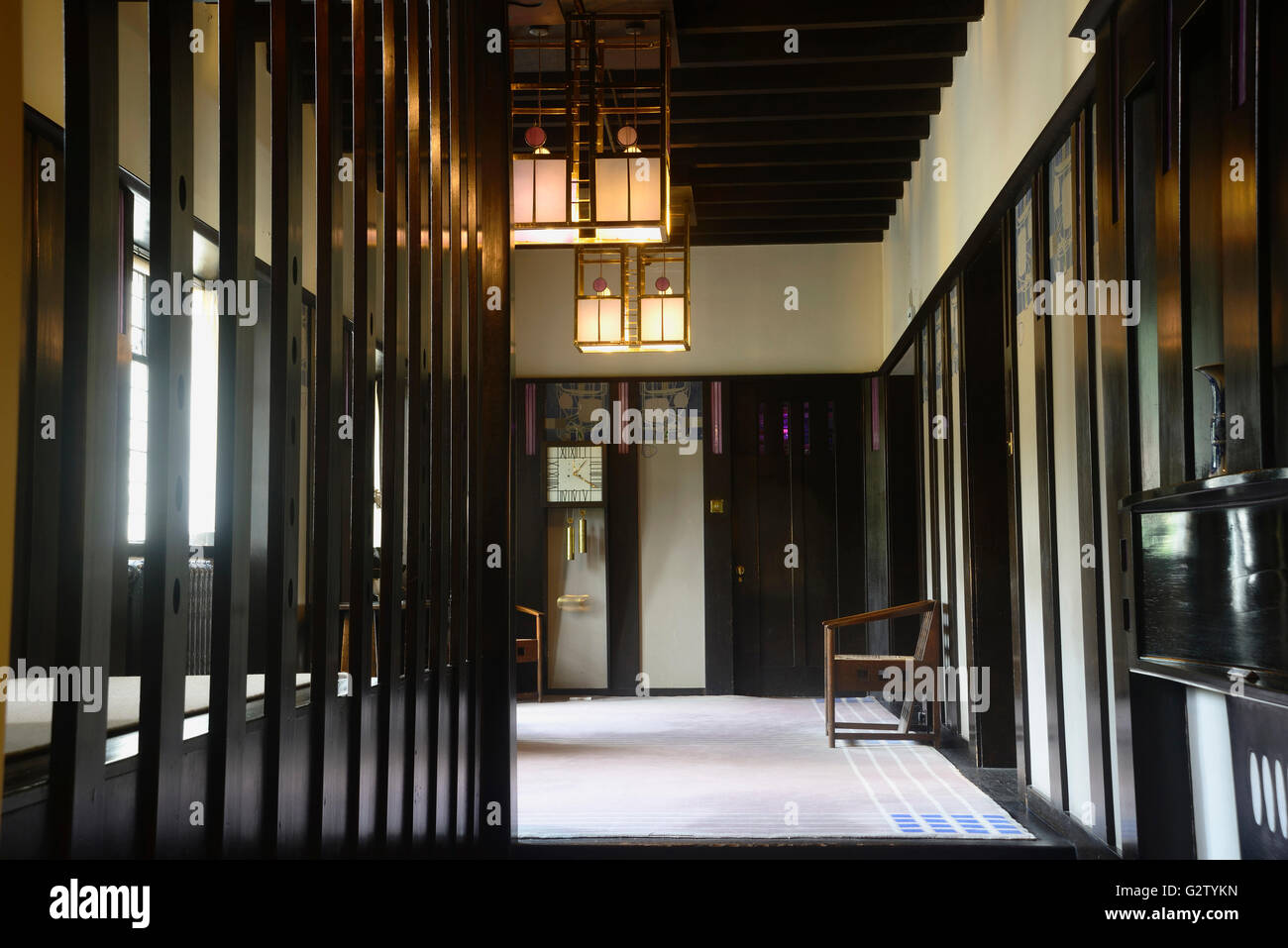 scotland glasgow mackintosh glasgow the hill house entrance hall stock photo royalty free. Black Bedroom Furniture Sets. Home Design Ideas