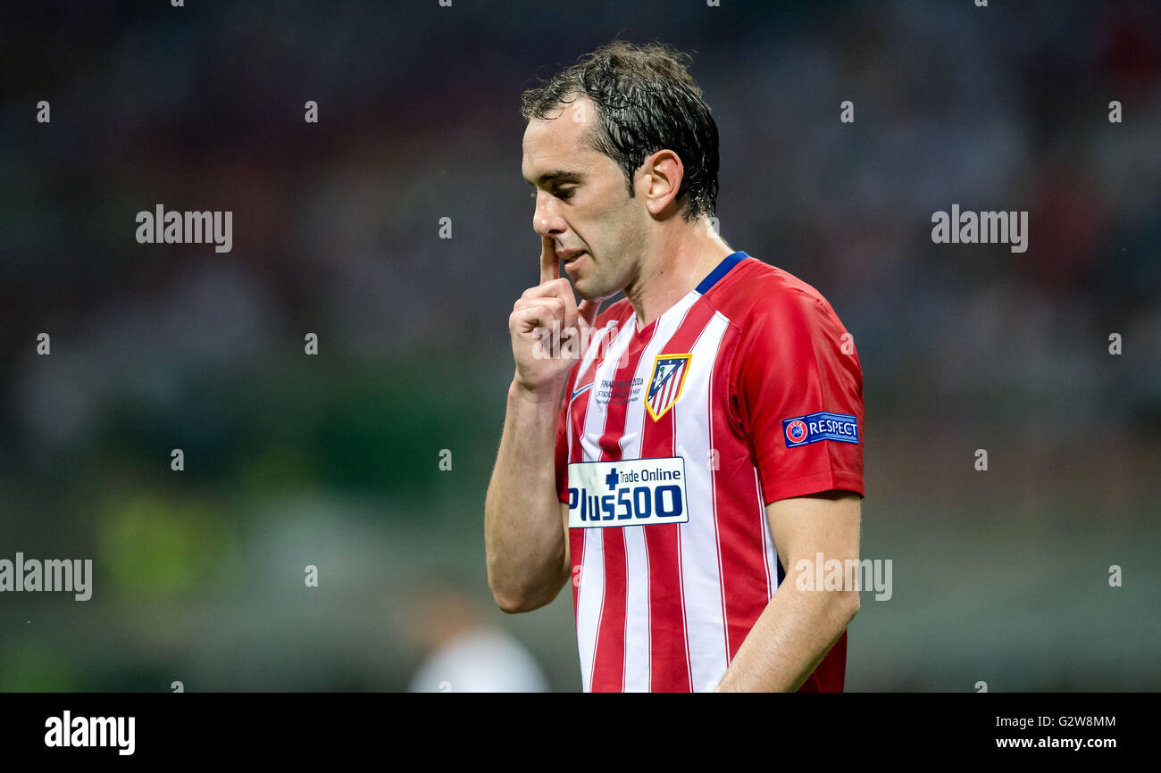 Atletico s Diego Godin reacts during the UEFA Champions League