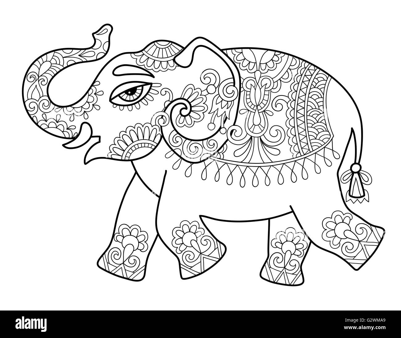 Indian Elephant Line Drawing Indian Elephant Drawin...