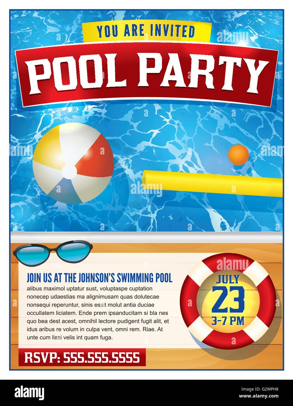 a template for a pool party invitation vector eps available a template for a pool party invitation vector eps 10 available