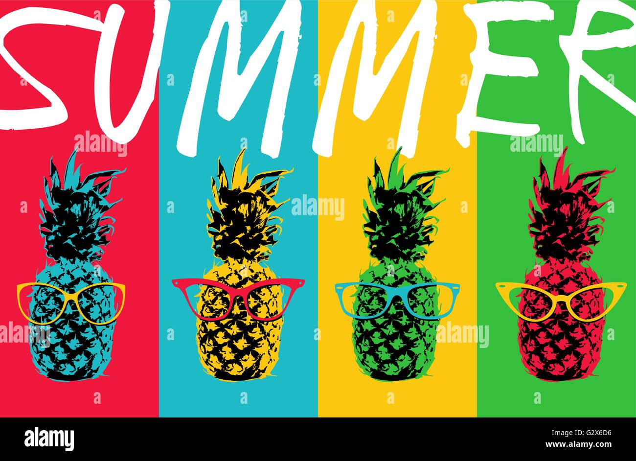 colorful pineapple background. retro 80s summer concept illustration of pop art pineapple fruit with hipster eye glasses and colorful background