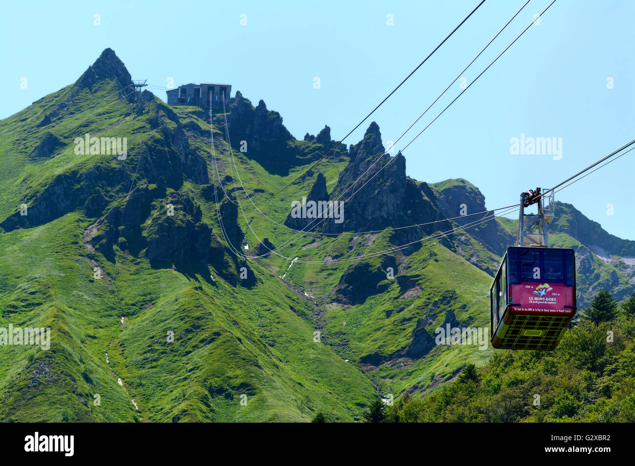 cable car mont dore massif du sancy regional nature park of the stock photo royalty free