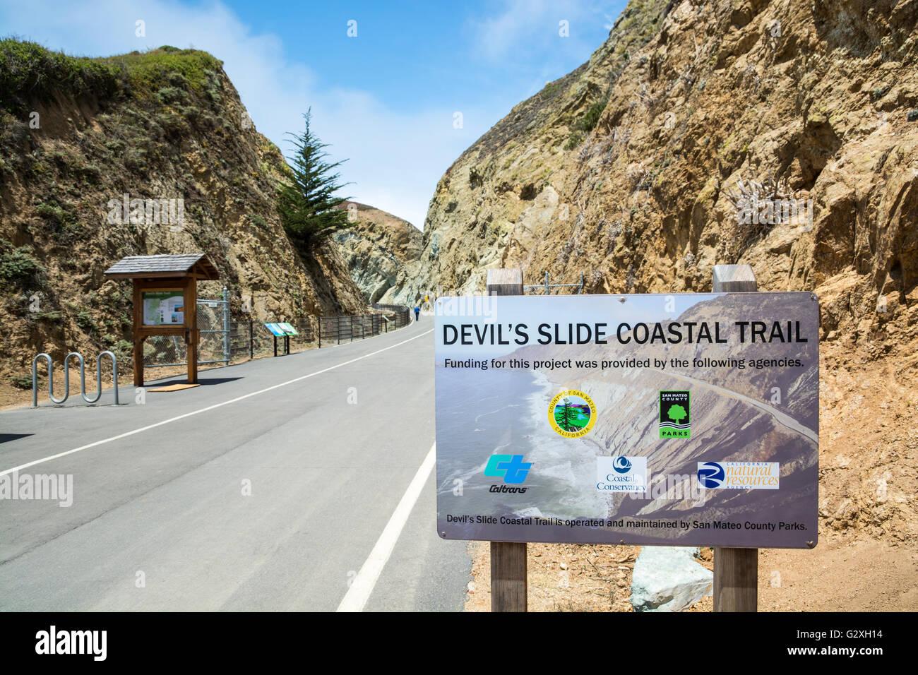 California san mateo county pescadero - California San Mateo County Pacific Ocean Coast Devil S Slide Coastal Trail Stock