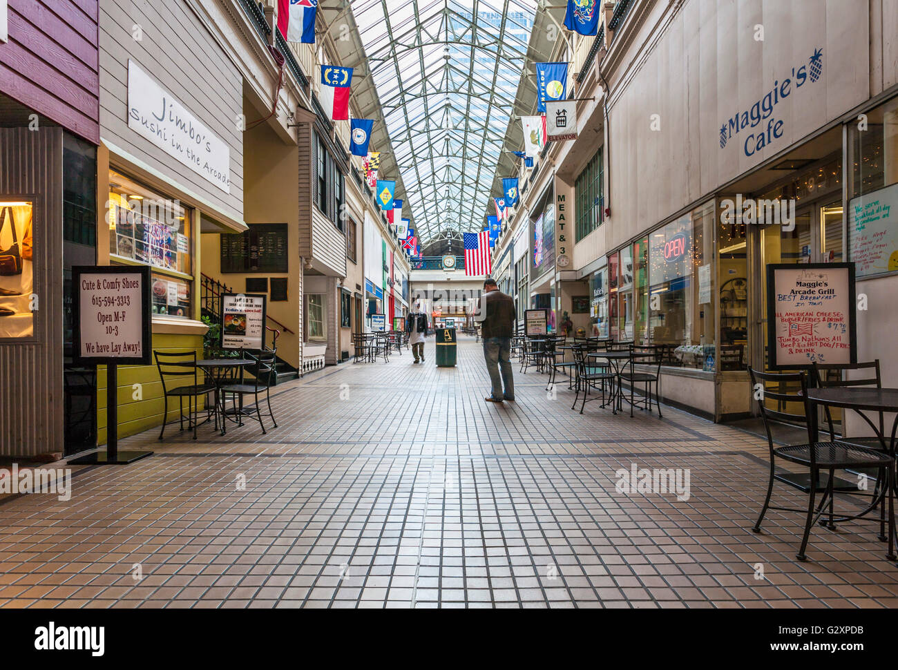 The historic arcade shopping center in downtown nashville for Antique stores in nashville