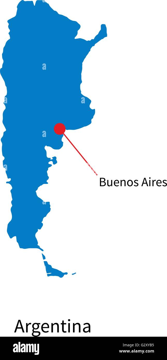 Detailed Map Of Argentina And Capital City Buenos Aires With Flag - Argentina map vector