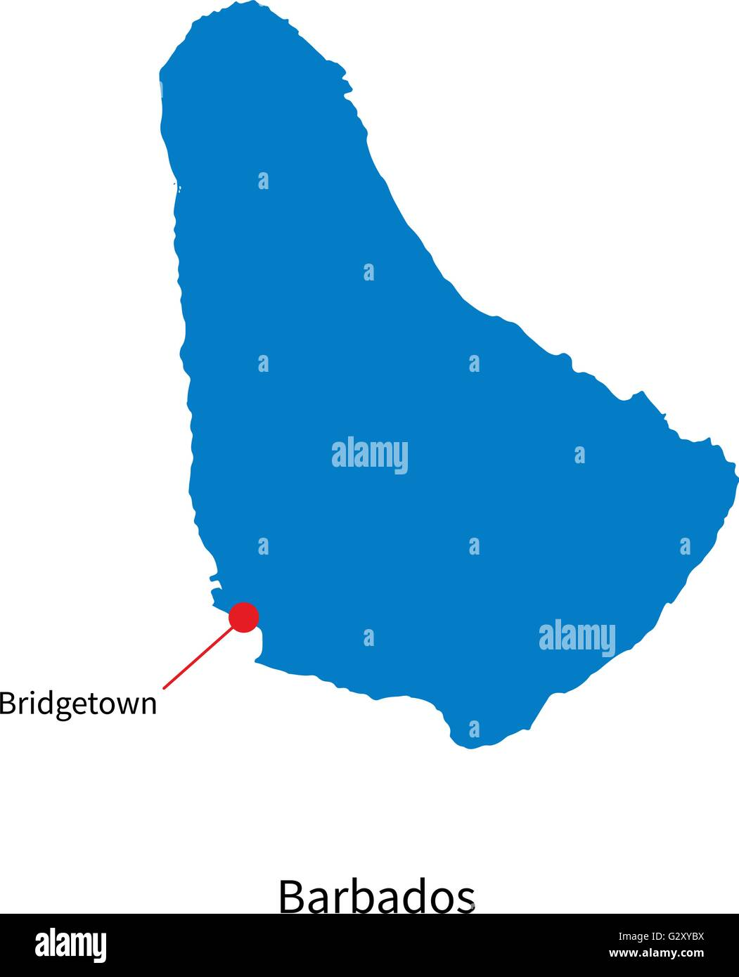 Detailed vector map of Barbados and capital city Bridgetown Stock