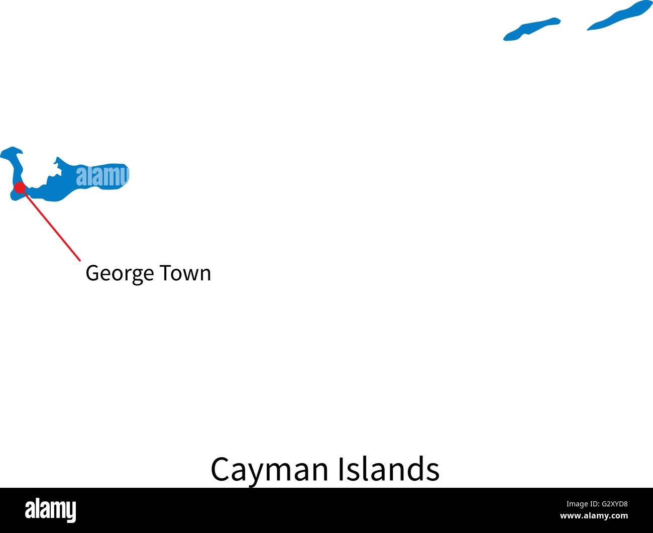 Vector Map Of Cayman Islands And Capital City George Town Stock - Cayman islands cities map