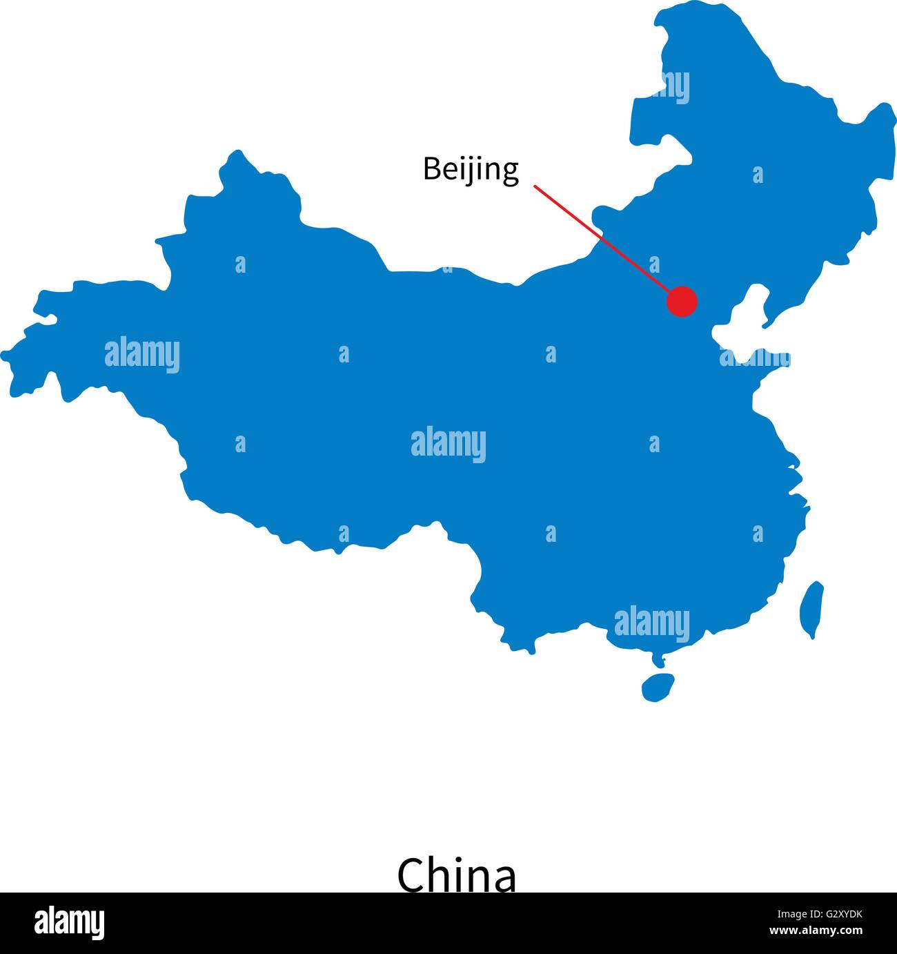 Detailed vector map of China and capital city Beijing Stock Vector