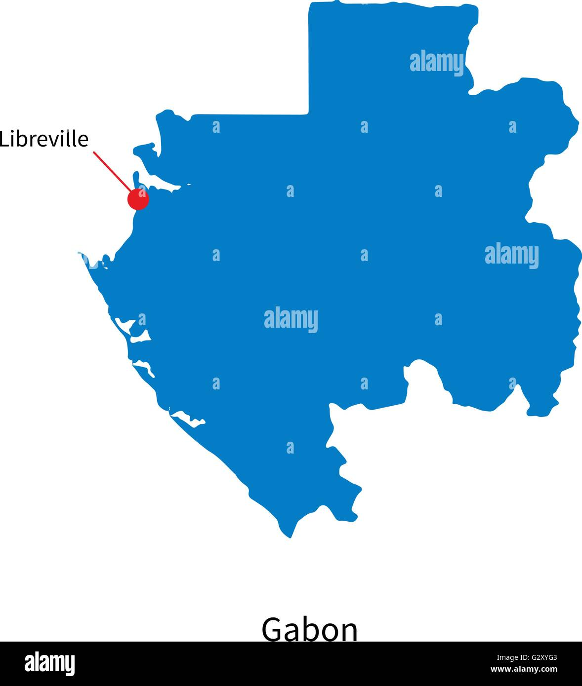 Detailed Vector Map Of Gabon And Capital City Libreville Stock - Where is gabon on the world map