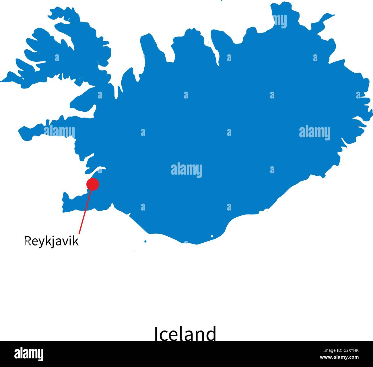 Detailed Vector Map Of Iceland And Capital City Reykjavik Stock - Iceland map world