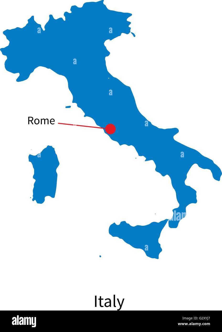 Detailed Vector Map Of Italy And Capital City Rome Stock Vector - Italy capital map