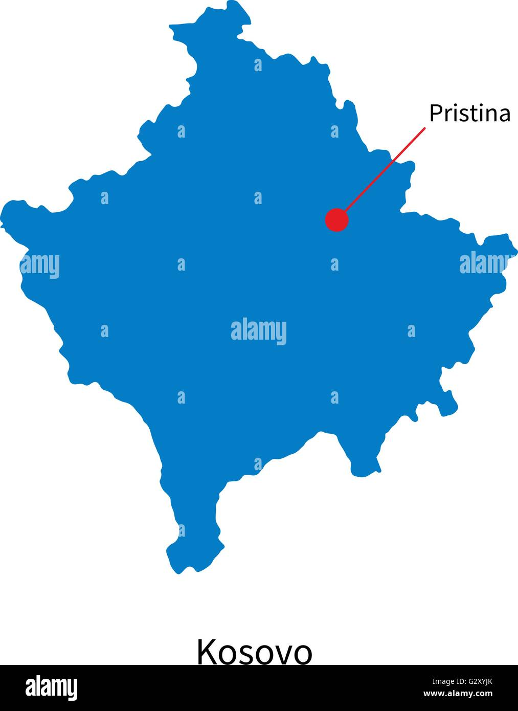 Detailed Vector Map Of Kosovo And Capital City Pristina Stock - pristina map