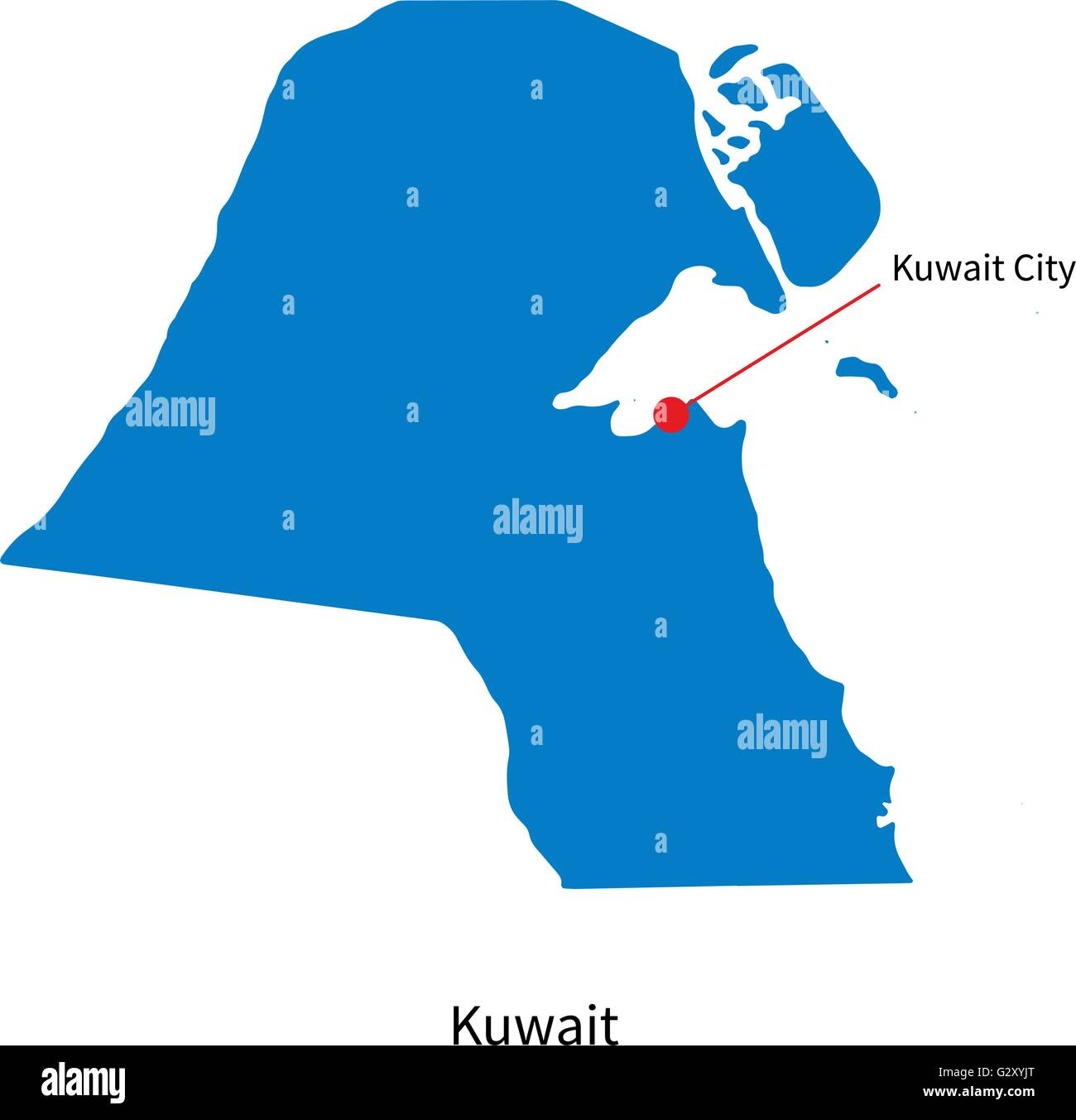 World Map Kuwait City. Detailed vector map of Kuwait and capital city Stock Vector Art