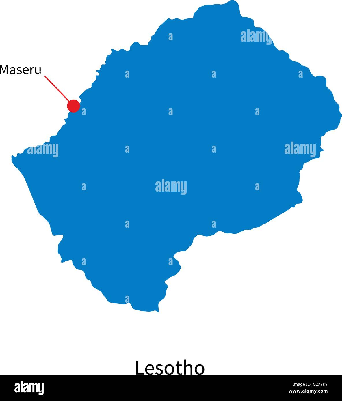 Detailed Vector Map Of Lesotho And Capital City Maseru Stock - Maseru map