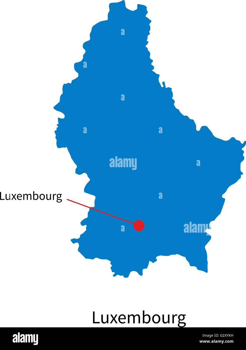 Detailed Vector Map Of Luxembourg And Capital City Stock Vector - Luxembourg map vector