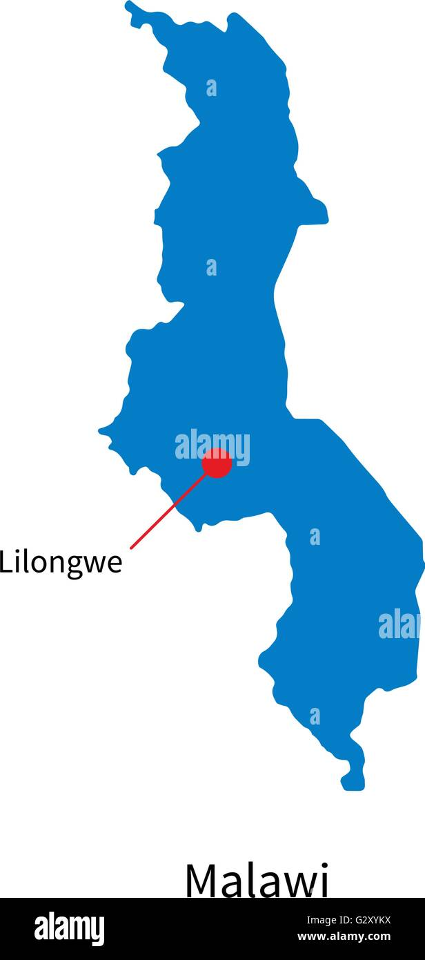 Detailed Vector Map Of Malawi And Capital City Lilongwe Stock - Malawi map