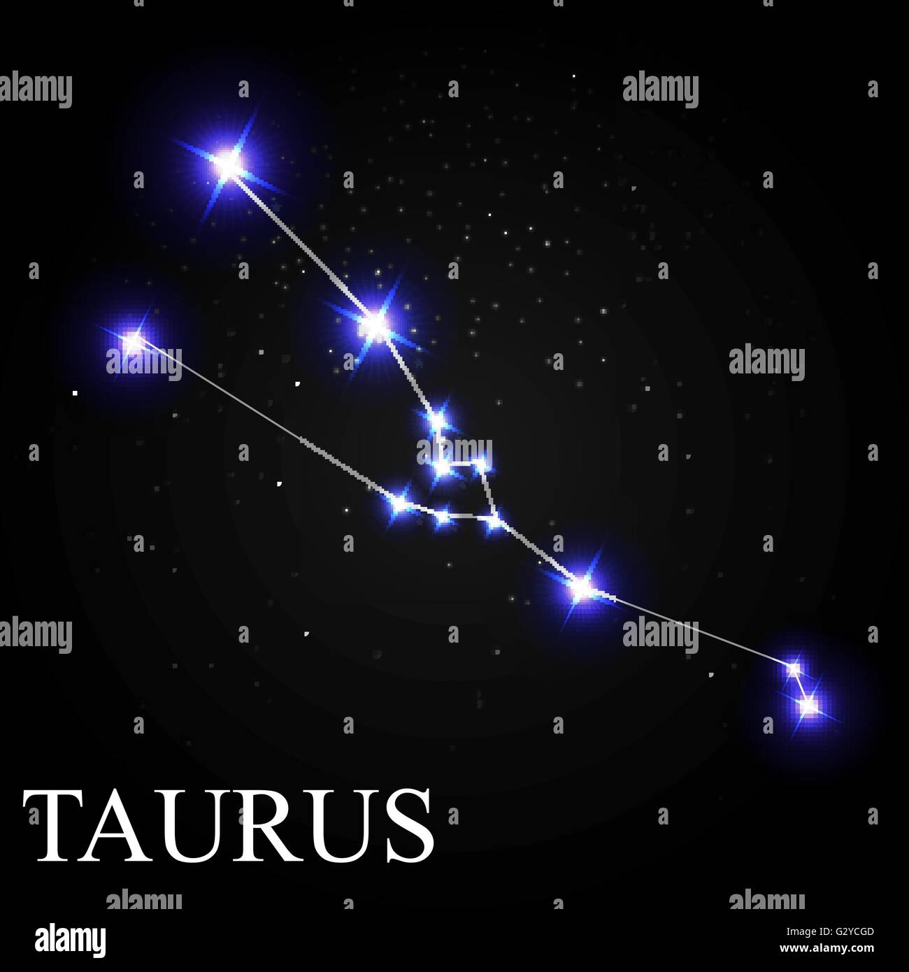 Taurus Zodiac Sign with Beautiful Bright Stars on the ...