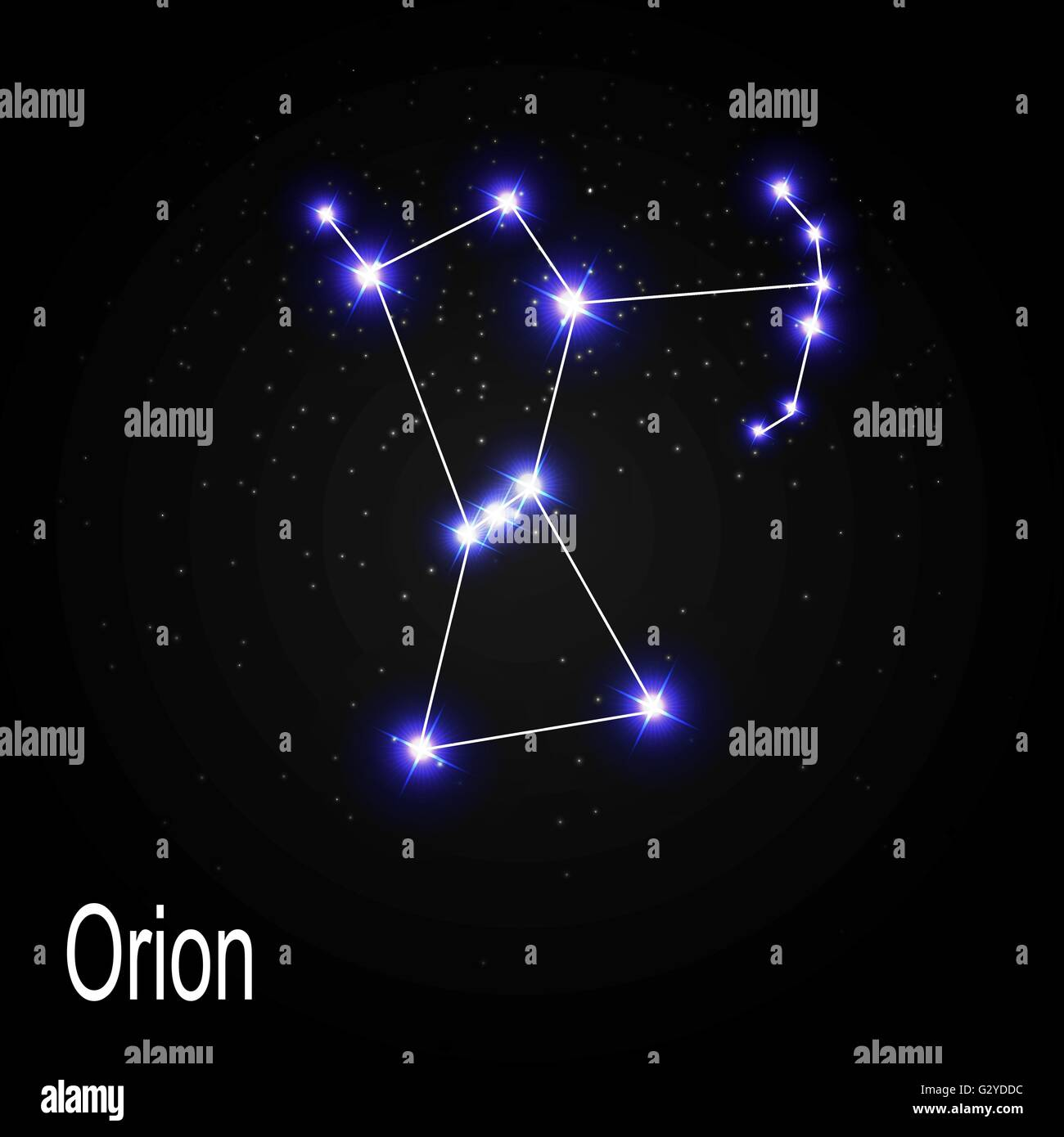 orion constellation with beautiful bright stars on the wave vector equation wave vector ill