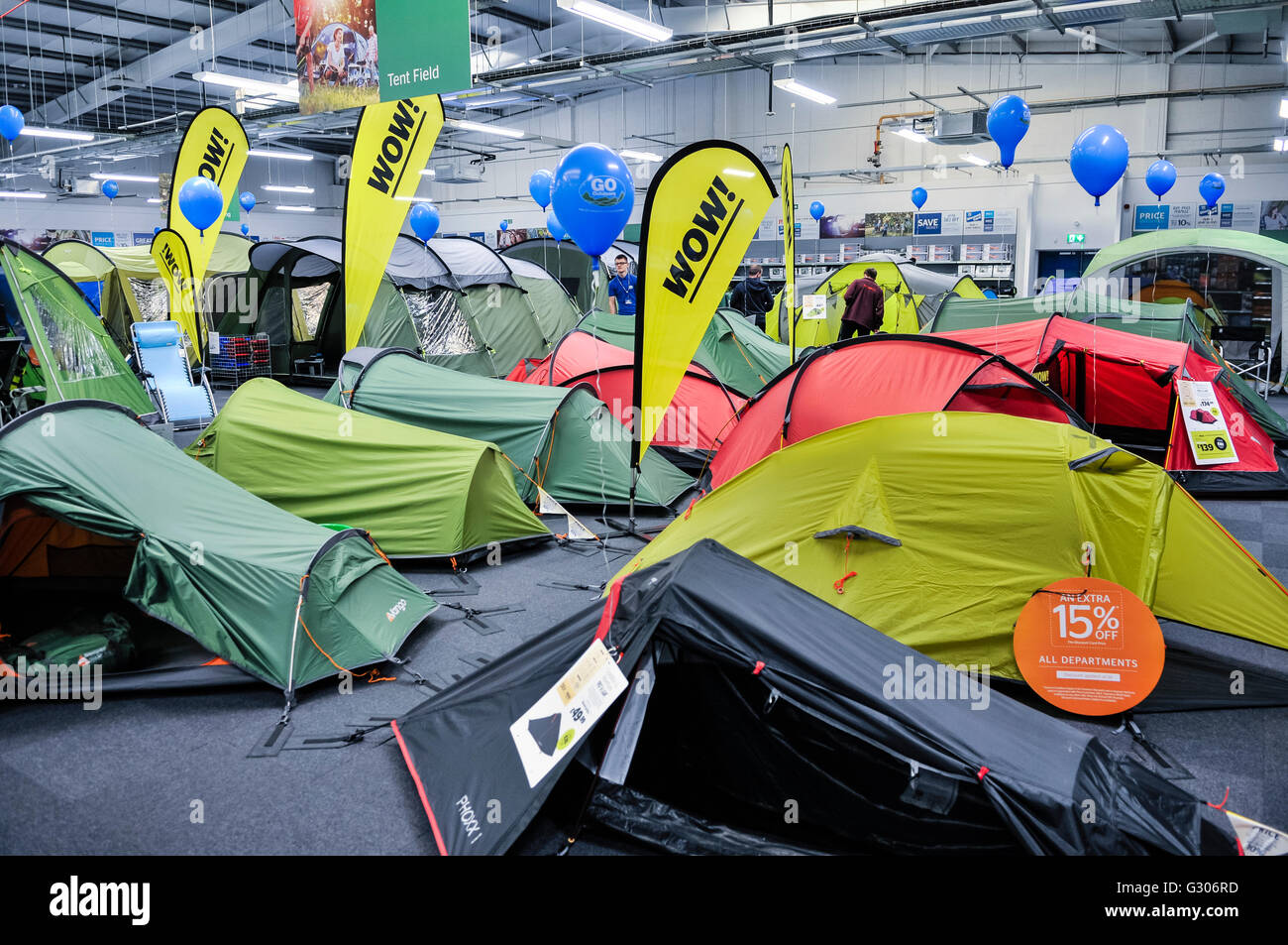 Tents on sale in the c&ing section of Go Outdoors sports shop & Tents on sale in the camping section of Go Outdoors sports shop ...