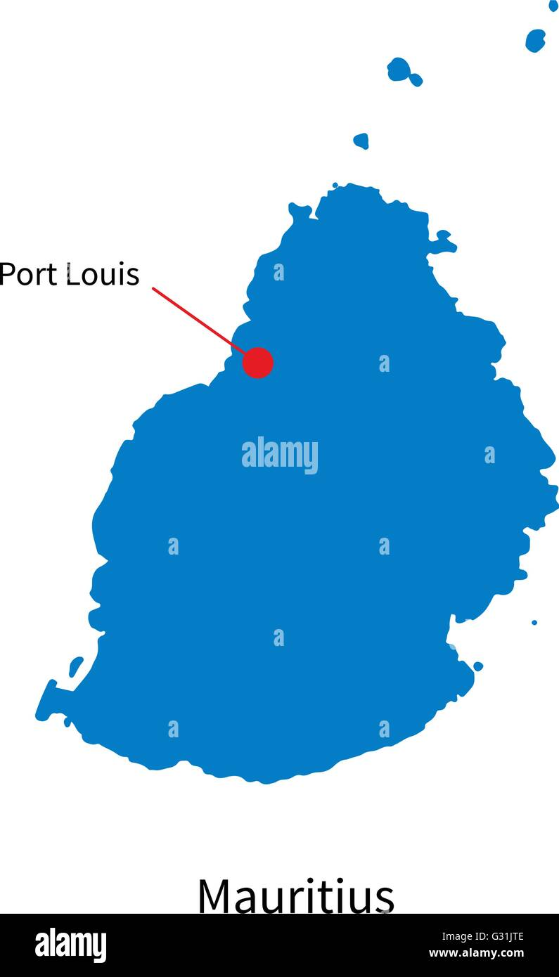 Detailed Vector Map Of Mauritius And Capital City Port Louis Stock - Detailed map of mauritius