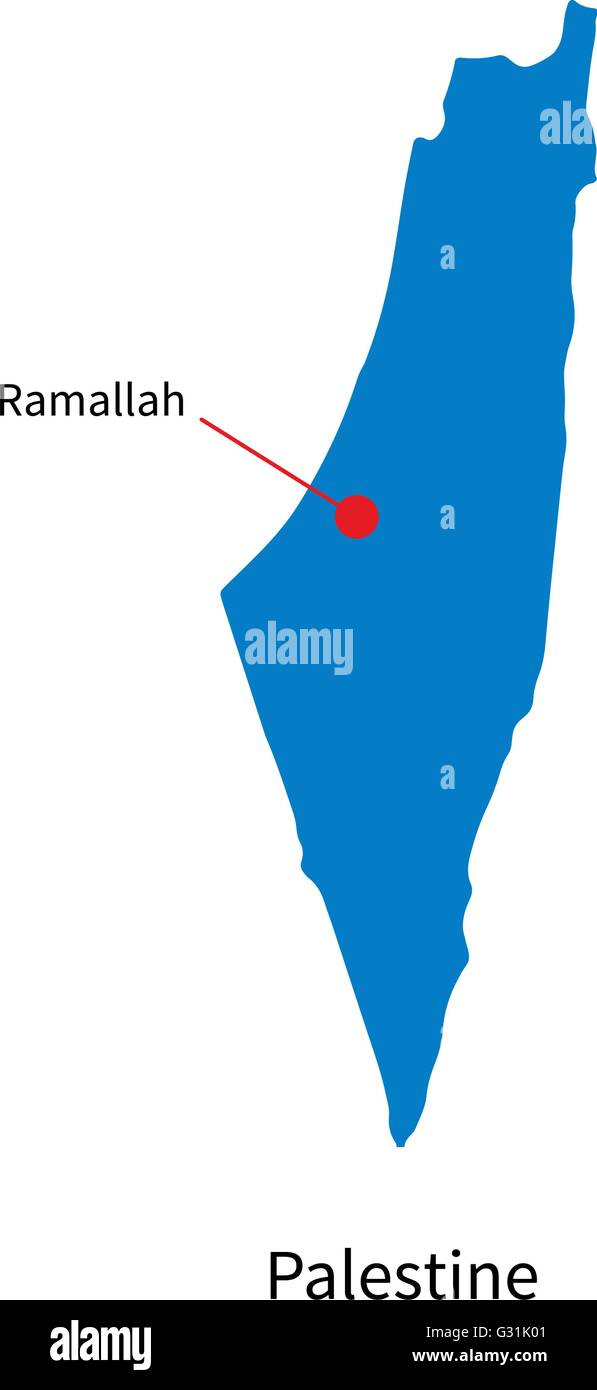 Detailed Vector Map Of Palestine And Capital City Ramallah Stock - Map of palestine