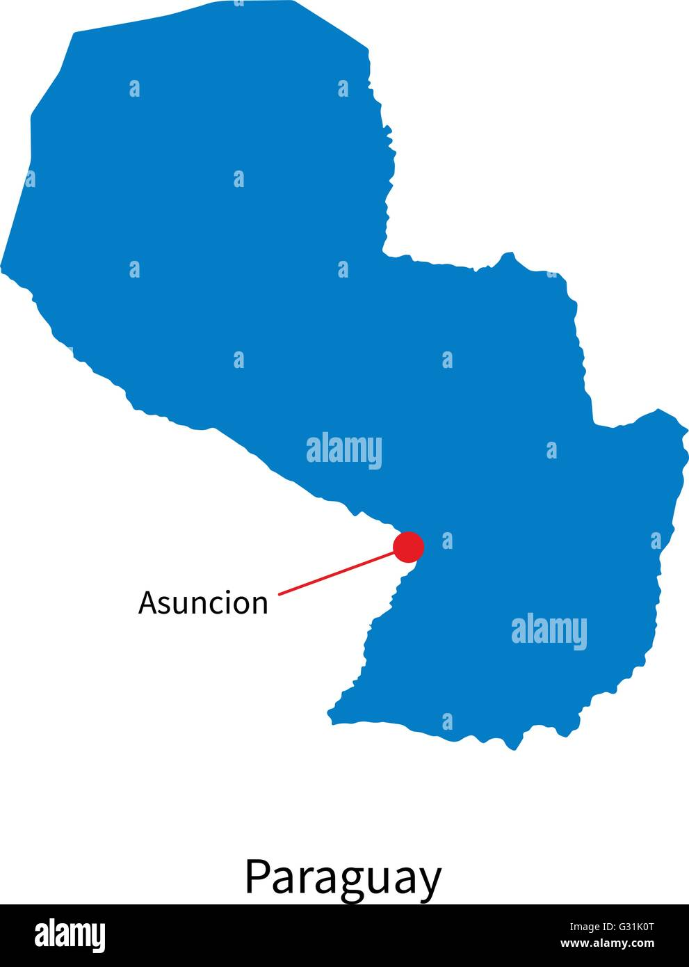 Detailed Vector Map Of Paraguay And Capital City Asuncion Stock - Map of paraguay world