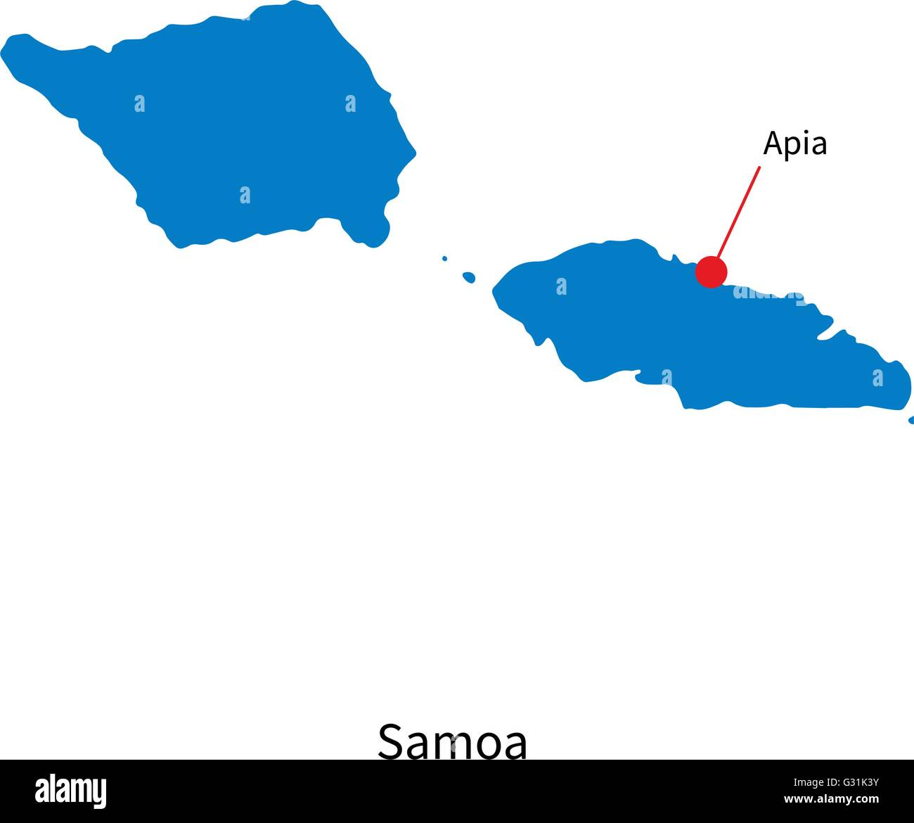 Detailed Vector Map Of Samoa And Capital City Apia Stock Vector - Samoa map vector