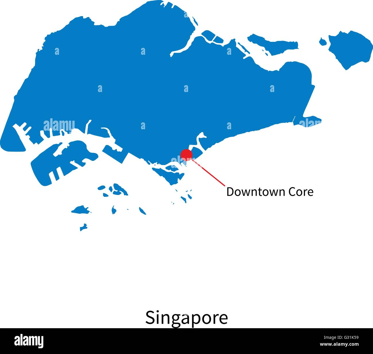Detailed Vector Map Of Singapore And Capital City Downtown Core - Singapore map vector