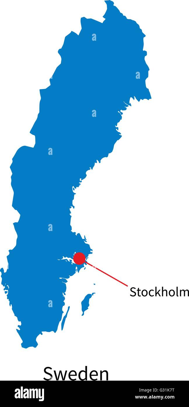 Detailed Vector Map Of Sweden And Capital City Stockholm Stock - Sweden map search