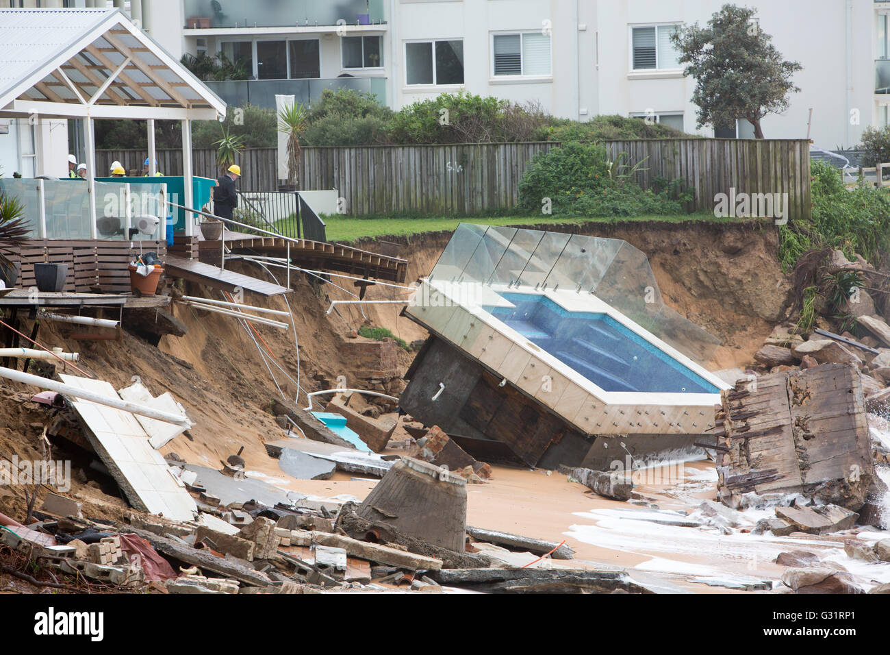 Sydney australia 06th june 2016 sydney storms at collaroy sydney australia 06th june 2016 sydney storms at collaroy beach up to 15m of beach was eroded by king tide and ms zaza silk saw her garden swimming nvjuhfo Gallery