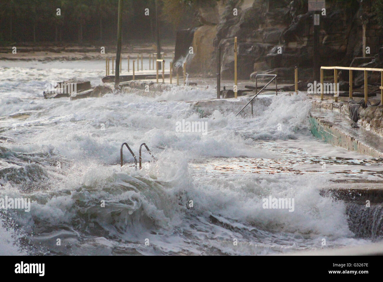 Sydney australia 06th june 2016 waves crash onto marine parade sydney australia 06th june 2016 waves crash onto marine parade the walkway from manly beach to shelly beach which has been severely damaged in the nvjuhfo Gallery