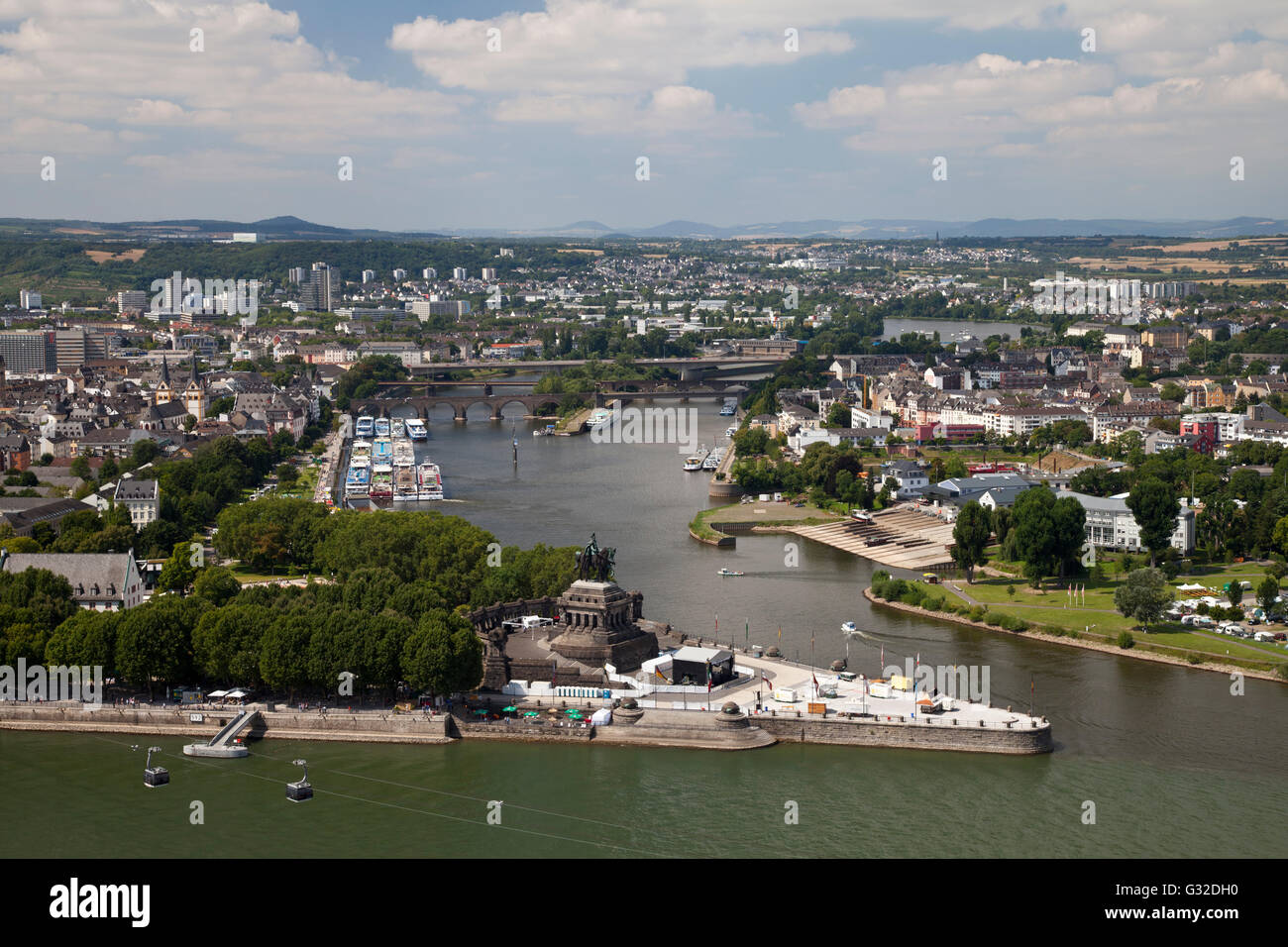 view of deutsches eck headland as seen from ehrenbreitstein castle stock photo royalty free. Black Bedroom Furniture Sets. Home Design Ideas