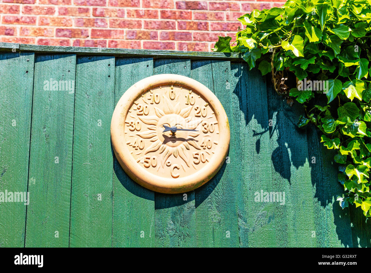 Garden Thermometer Showing 30 + Degrees Temperature Celsius In UK Summer  Hot Scorching Heat Sunny
