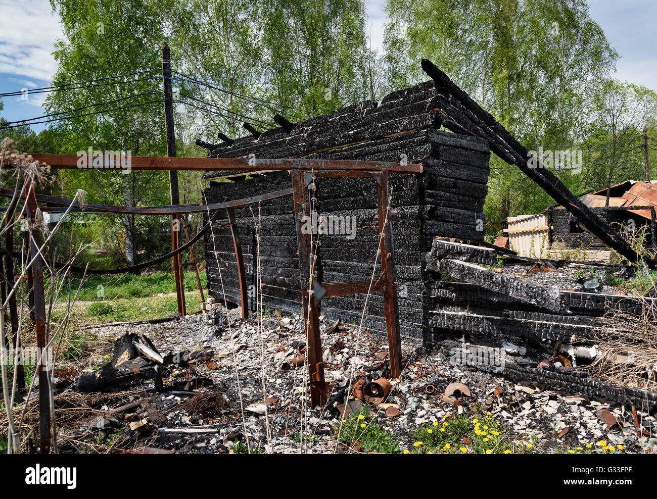 Remains Of Burned Down House In The Village Stock Photo  Royalty Free Image  105184423