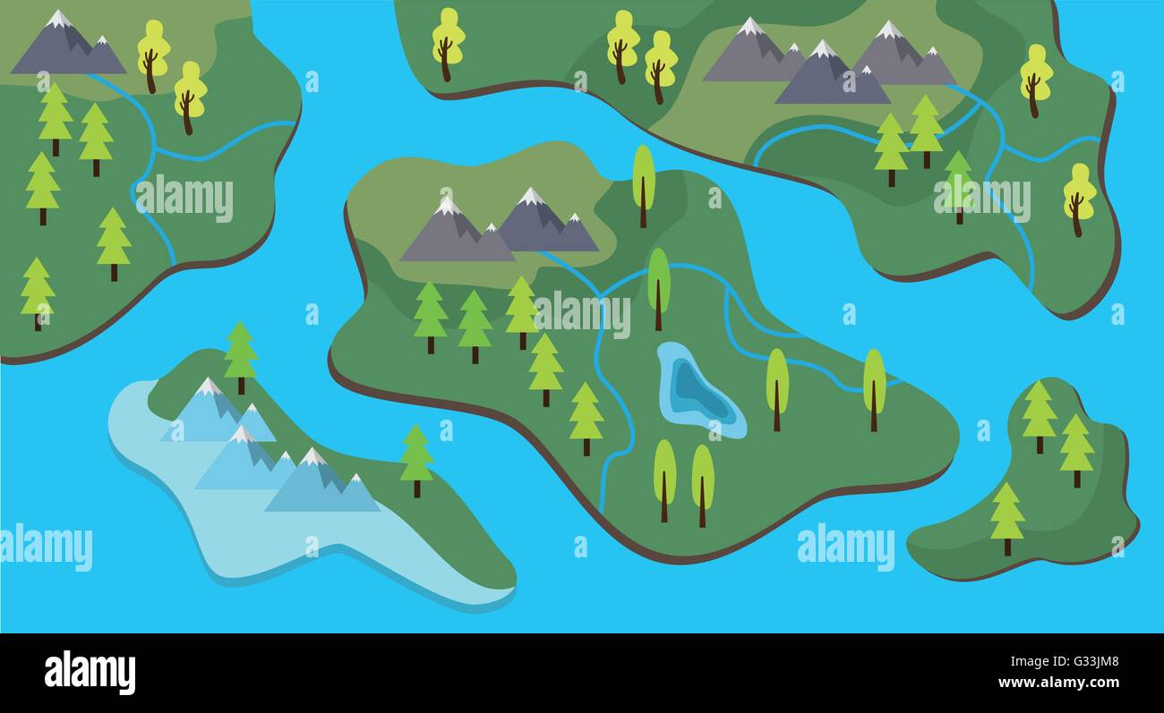 Map cartoon flat style with land and sea river vector graphic map cartoon flat style with land and sea river vector graphic gumiabroncs Gallery