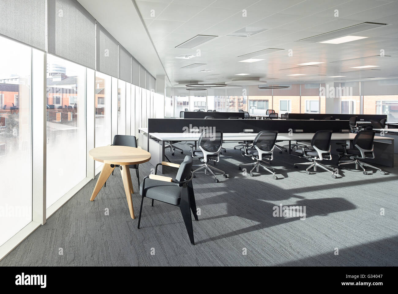 Empty Open Plan Office Interior KPMG Offices Leeds United Kingdom Architect Sheppard Robson 2015