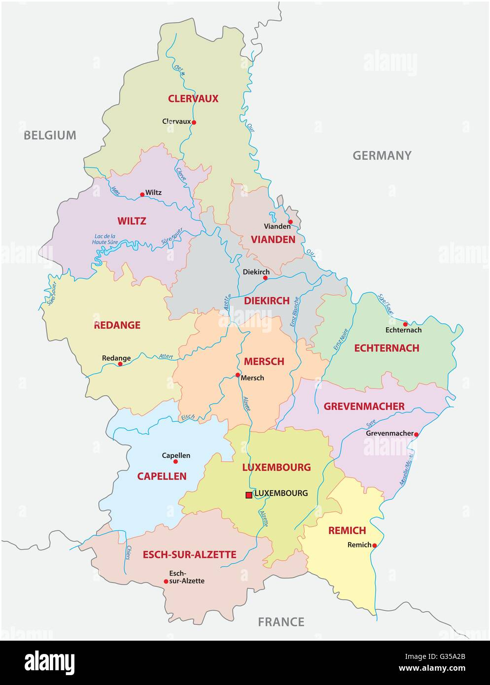 Administrative And Political Canton Map Grand Duchy Of - Luxembourg map vector