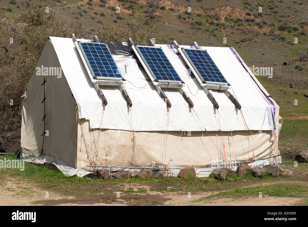 Solar panels on a wall tent in the Imnaha River Canyon Northeast Oregon & Solar panels on a wall tent in the Imnaha River Canyon Northeast ...