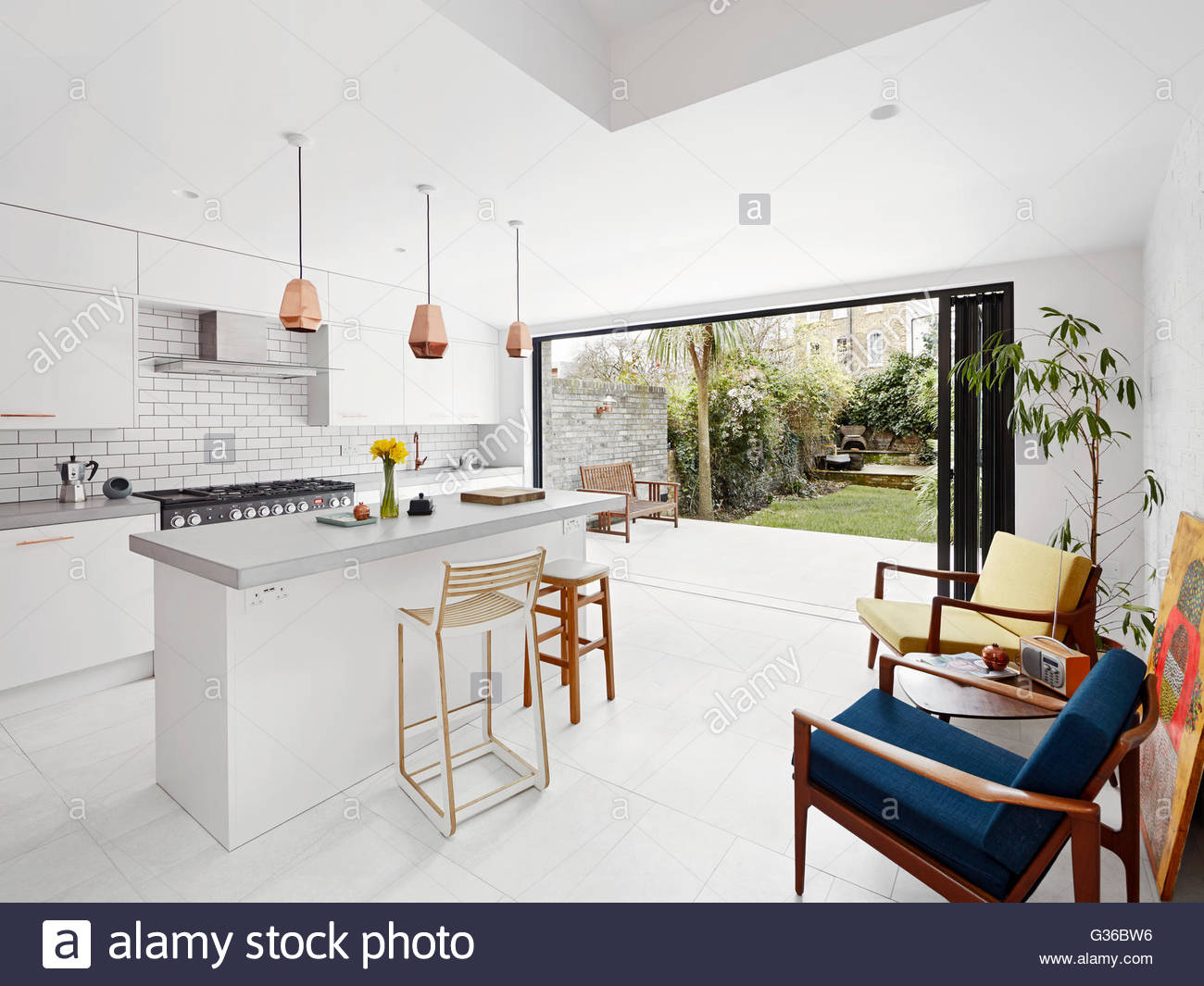 House And Garden Kitchens Open Plan Kitchen With View Over Garden Brenthouse Road London